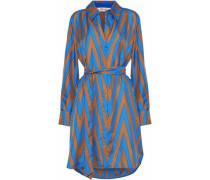 Belted printed silk-twill shirt dress