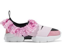 Woman Sequined Satin, Suede And Neoprene Slip-on Sneakers Baby Pink