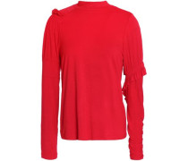 Ruffle-trimmed Stretch-cotton Jersey Top Red