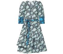 Meru Asymmetric Printed Silk Crepe De Chine Wrap Dress Midnight Blue Size 0
