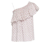 Printed Ruffled Cotton Woven Top Off-white