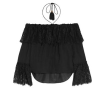 Off-the-shoulder lace-paneled silk-crepe top