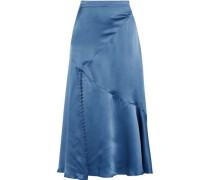 Fluted Silk-charmeuse Midi Skirt Blue Size 0