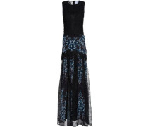 Guipure lace and printed crepe maxi dress