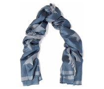 Woman Frayed Printed Silk And Modal-blend Scarf Blue