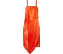 Darling Draped Silk-blend Satin Midi Dress Orange