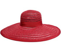 Woman Grosgrain-trimmed Faux Raffia Sunhat Red