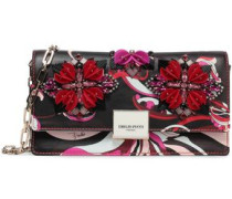 Embellished Printed Leather Clutch Chocolate Size --