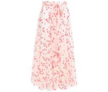 Belted Floral-print Silk-georgette Midi Skirt Pastel Pink