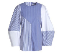 Paneled striped cotton-blend poplin blouse