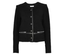 Leather-trimmed bouclé-tweed cotton-blend jacket