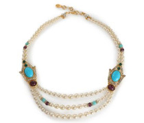 Gold-tone, stone and crystal beaded necklace
