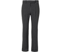 Polka-dot Crepe Straight-leg Pants Black