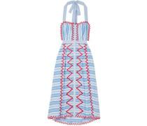 Trelliage Embroidered Striped Cotton-poplin Midi Dress Light Blue Size 14
