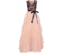 Embellished tulle-paneled tiered chiffon gown
