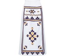 Woman Anika Embroidered Cotton-poplin Midi Skirt White