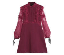 Lace-trimmed paneled silk and cotton-blend voile and crepe mini dress