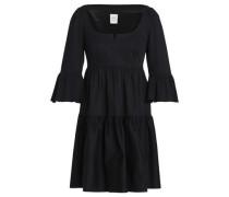 Gathered Cotton-blend Twill Mini Dress Black