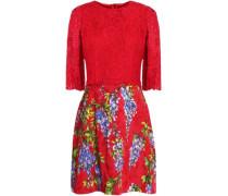 Lace-paneled floral-print cotton-blend jacquard mini dress