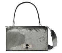 Metallic Calf Hair Shoulder Bag Gunmetal Size --