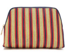 Leather-trimmed Striped Faux Raffia Cosmetics Case Red Size --