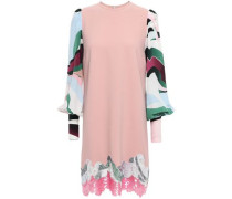 Printed Crepe De Chine-paneled Embellished Silk-blend Mini Dress Blush