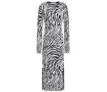 Woman Cutout Zebra-print Jacquard-knit Midi Dress Black