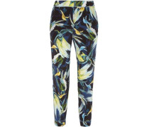 Giulia cropped printed silk crepe de chine slim-leg pants