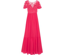 Embellished embroidered tulle and pleated silk-blend georgette gown