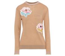 Floral-appliquéd Wool Sweater Camel