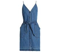 Carmela cotton and linen-blend chambray slip dress