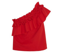 Esme One-shoulder Pleated Stretch Cotton-poplin Top Red