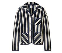 Striped Intarsia-knit Cashmere Cardigan Navy