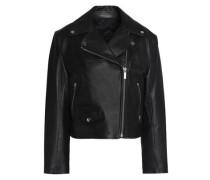 Tie-back leather biker jacket