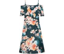 Cold-shoulder floral-print satin-twill dress