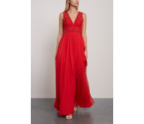 Kanshou Embellished Silk-chiffon And Tulle Gown Red