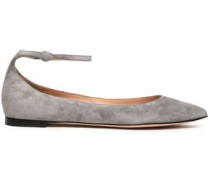 Vivian Suede Point-toe Flats Stone