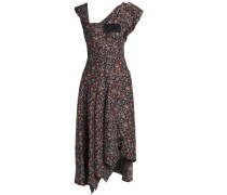 Asymmetric Printed Silk Dress Charcoal