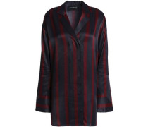 Striped Satin Shirt Midnight Blue