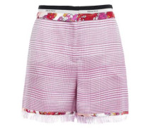 Woman Printed Satin Twill-trimmed Houndstooth Woven Shorts Pink
