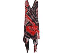 Asymmetric printed crepe dress