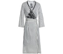 Embroidered striped twill wrap dress