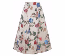 Flared floral-jacquard midi skirt