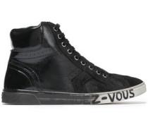 Degradé Printed Suede-paneled Suede Sneakers Black