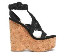 Crocheted leather platform wedge sandals