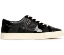 Paneled Leather Sneakers Black
