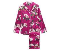 Floral-print Silk-satin Pajama Set Magenta Size 1