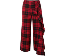 Woman Cropped Checked Wool Wide-leg Pants Red
