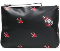 Printed Textured-leather Pouch Black Size --
