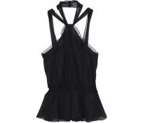 Woman Twist-front Lace-trimmed Silk-georgette Top Black